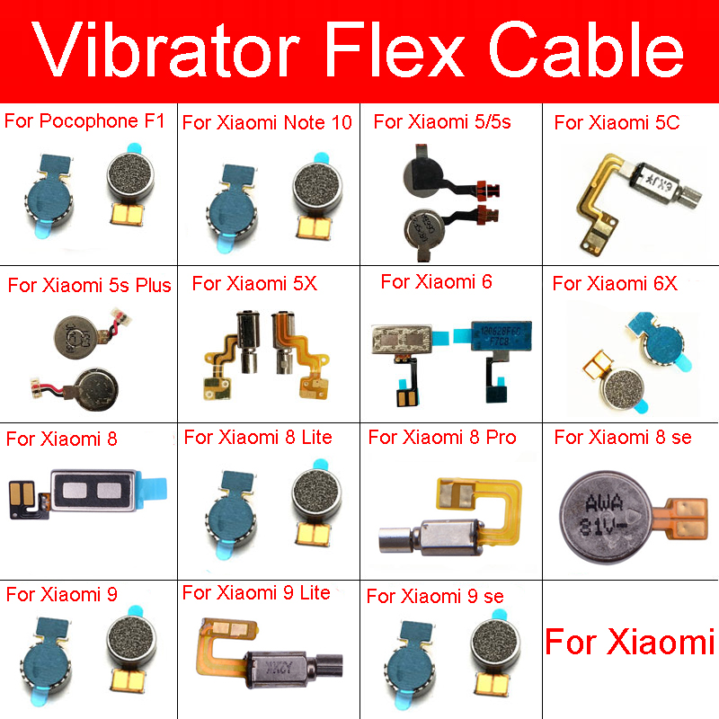 Vibrator Flex Cable For XiaoMi PocoPhone Poco F1 Mi Note 10 9 8 6 Lite Pro SE 5C 5X 5s Plus Vibration Motor Module Repair Parts