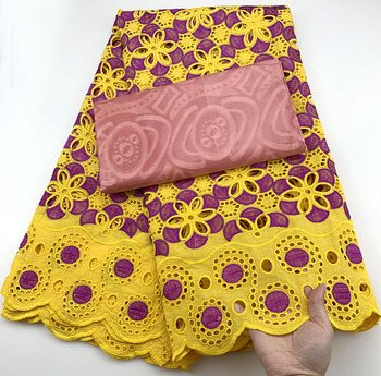 2020 yellow Color Hot African Cotton Swiss Voile Lace Fabric High Quality African Swiss Bazin riche In Switzerland For wedding