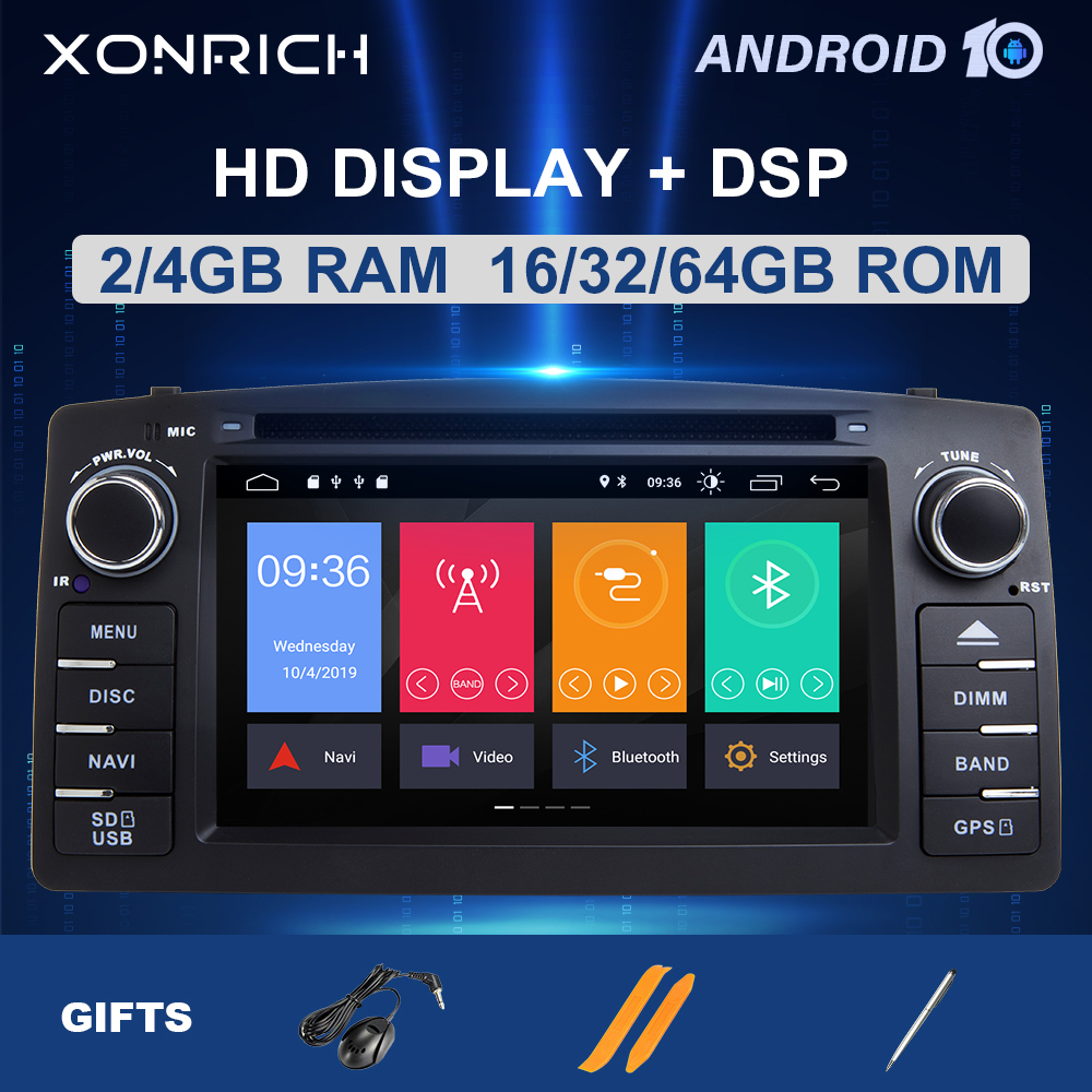 DSP 4G 8 Core 2 Din Android 10 Car DVD Player For Toyota <font><b>Corolla</b></font> <font><b>E120</b></font> BYD F3 2003Multimedia Radio GPS Navigation head unitStereo image