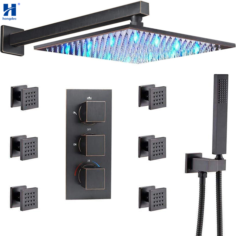 Hongdec Thermostatic Wall Mounted Oil Rubbed Bronze 12 Inch LED Rain Shower Head System Body Spray Combo