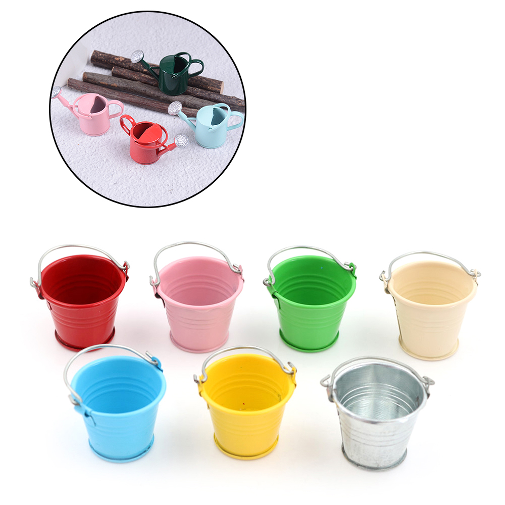 1/12 Metal Watering Can Buckets Garden Miniature Decoration For Children Kids Dolls Acces Dollhouse Miniature Furniture Toys
