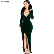 Maxi Long Velvet Party Dress Winter 2019 Women Elegant Sleeve Sexy V Neck Bandage Bodycon Plus Size