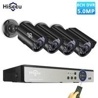 Hiseeu 8CH 5.0MP камера безопасности комплект 4 шт. 720P 1080P 1920P AHD Водонепроницаемая уличная камера комплект наружного видеонаблюдения