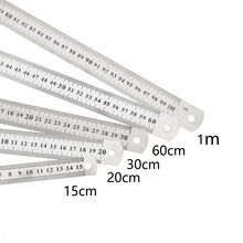 Straight Ruler Measuring-Tool Office-Supplies Double-Side-Scale Stainless-Steel School