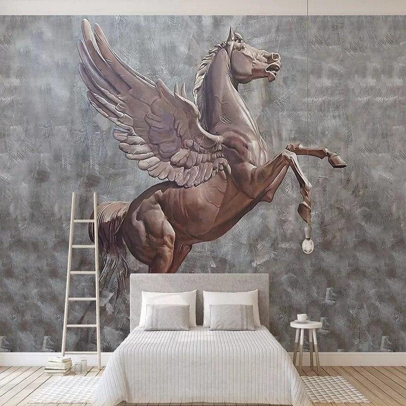 Custom Large Mural 3D Wallpaper Modern Creative 3D Space Wood Carving Horse Wings Bedroom TV Back Wall Decor Deep 5D Embossed
