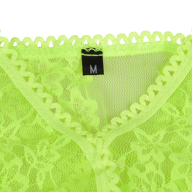 Fluorescent Green Mesh Lace Bra And Panty Set Women V-Neck Sexy Transparent Skinny Lace Intimates Lingerie Set  Brief Set  D35 5