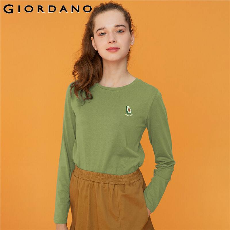 Giordano Women Tshirts Stretchy Solid Crewneck Long Sleeve T Shirt Women Cotton And Spandex Soft Casual Camiseta Mujer 90329608