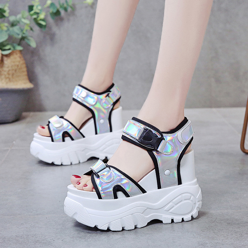 TUINANLE Platform Sandals Muffin Beach-Shoes Bottom Chunky Super-High-Heel Summer Student
