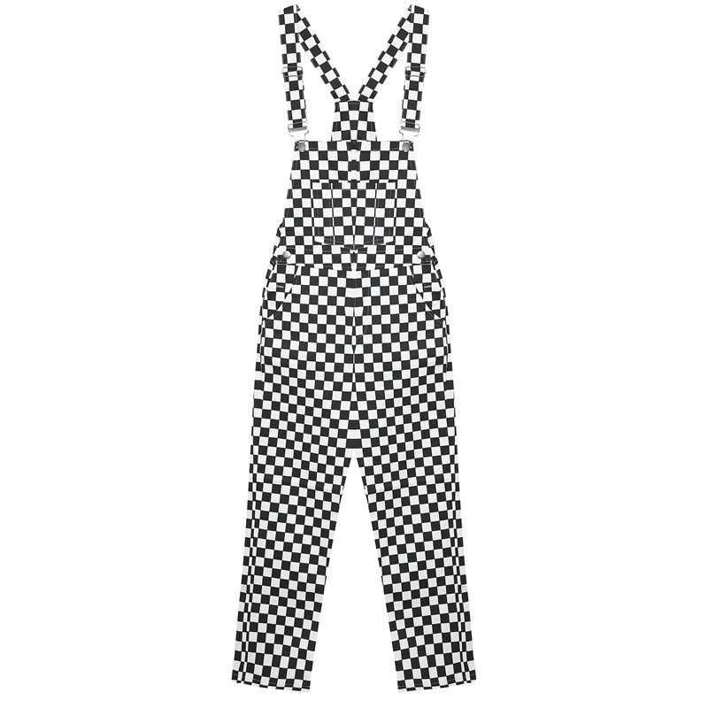秋の新女性サスペンダーズボンcheckboardオーバーオール市松ファッションロングストリート原宿ジャンプスーツS-XXXL