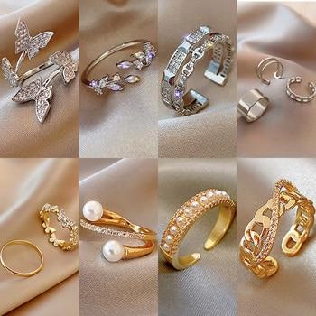 Rings For Women Fashion 2020 Trend Retro Ring On Phalanx Gold Adjustable Metal Dating Party Elegant Wedding Ring Set Jewellery 1