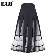 [EAM] плиссированная юбка контрастного цвета с высокой эластичной резинкой на талии и сеткой, женская модная одежда, Новинка весна-осень, 1A877