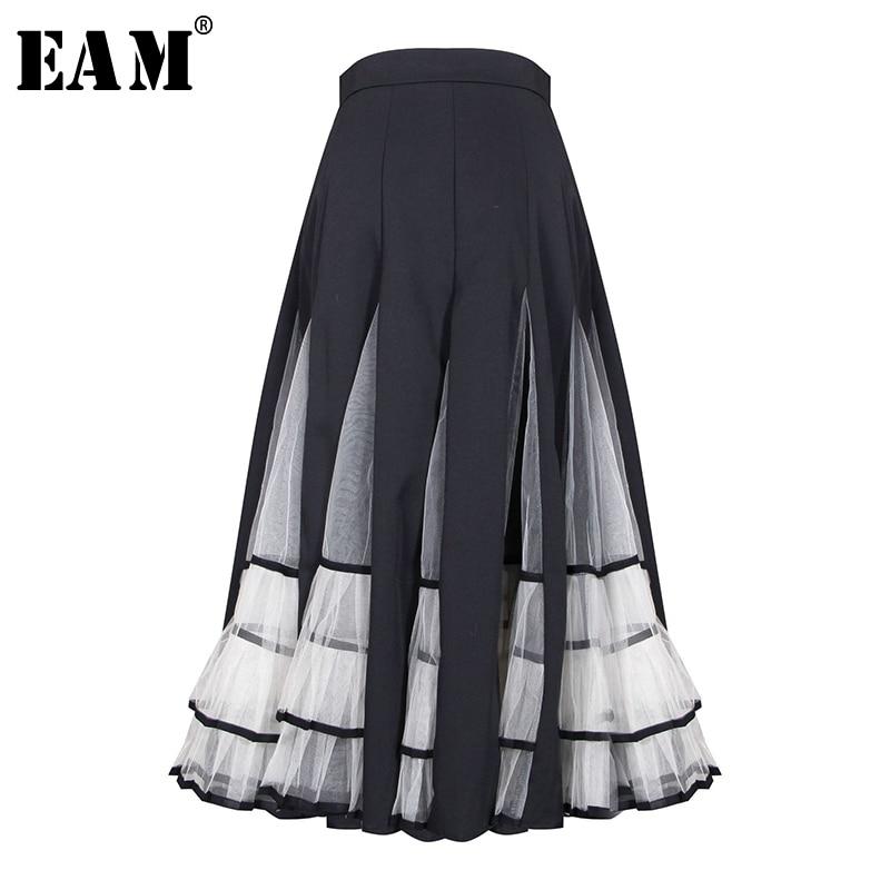 [EAM] High Elastic Waist Mesh Spliced Contrast Color Pleated Half-body Skirt Women Fashion Tide New Spring Autumn 2020 1A877