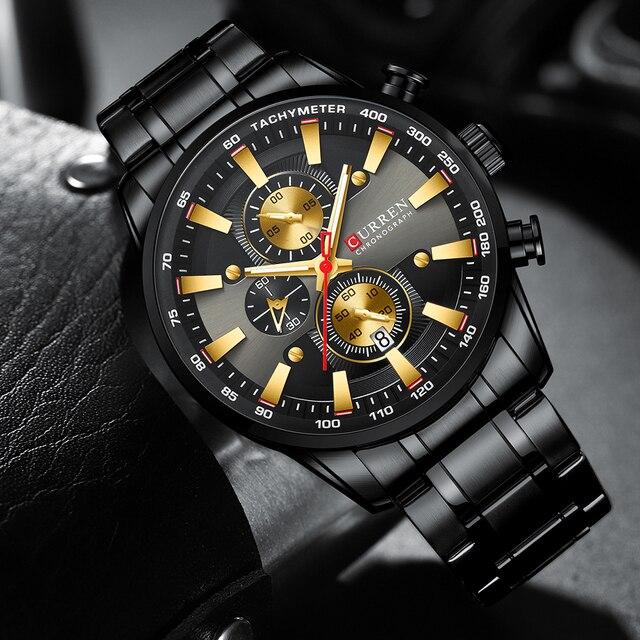 Curren preto relógio de ouro para homens moda quartzo esportes relógio de pulso cronógrafo data relógios aço inoxidável masculino relógio 1