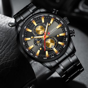 Image 2 - CURREN 블랙 골드 시계 남자 패션 쿼츠 스포츠 손목 시계 크로노 그래프 시계 날짜 시계 스테인레스 스틸 남성 시계