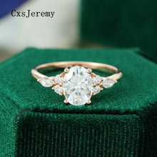 CxsJeremy 14K Rose Gold Moissanite Ring 6*8 1,5 CT Oval moissanite Engagement ring Vintage cluster ring hochzeit bridalAnniversary