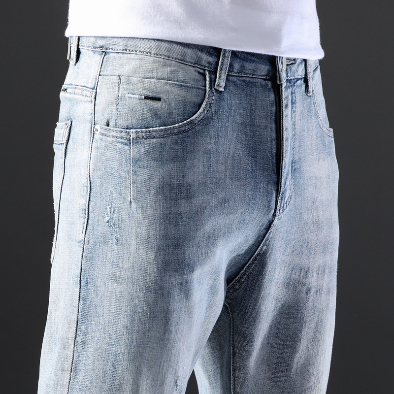 KSTUN Famous Brand Jeans Men White Blue Stretch Relaxed Tapered Pants Leisure Full Length Trousers Good Quality Jeans Male Homme 18
