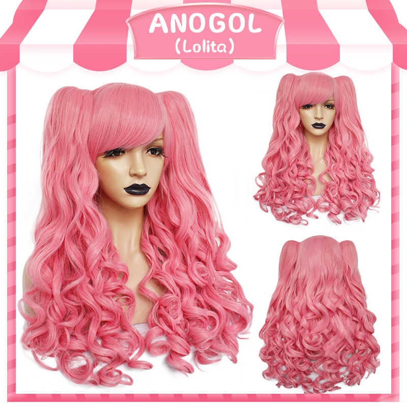 ANOGOL Long Body Wave Pink Lolita high temperature fiber brown Red Black Blonde Multi-color Synthetic Cosplay Wigs 2 Ponytails