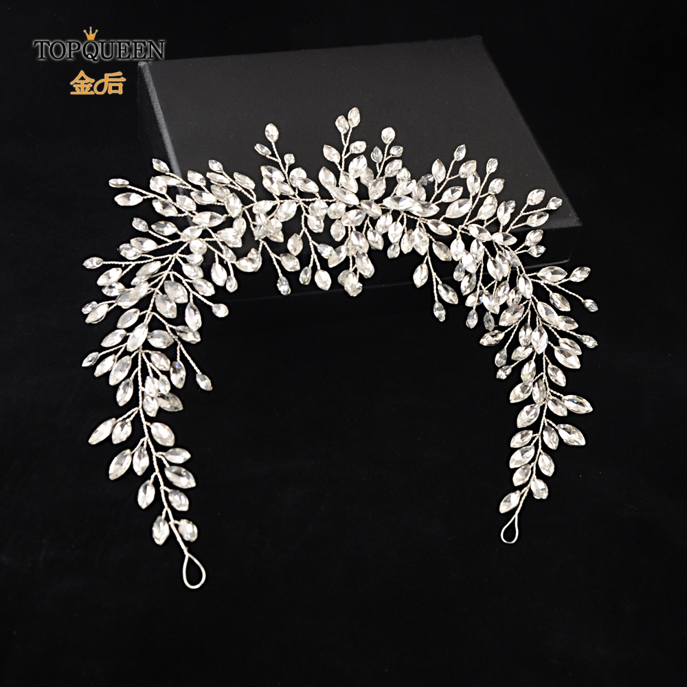 TOPQUEEN HP237 Sliver Handmade Wedding Headband Wedding Hair Accessories Rhinestone Twig Style Crystal Bridal Headwear Ornament