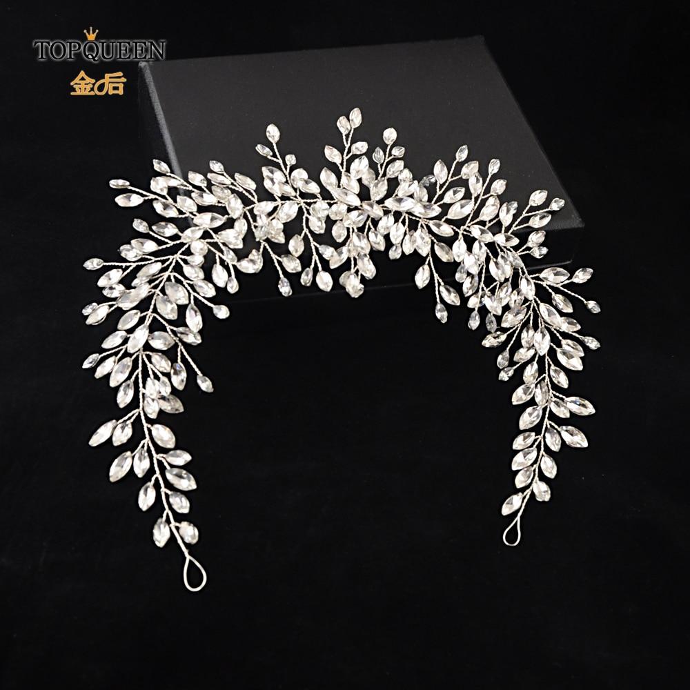 TOPQUEEN HP237 Sliver Handmade Wedding Headband Wedding Hair Accessories Rhinestone Twig Style Crystal Bridal Headwear Ornament