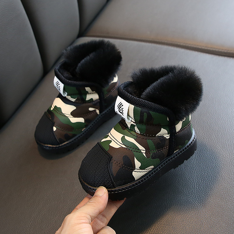 Winter Baby Girls Boys Snow Boots Warm Plush Child Boots Camouflage Color Waterproof Non-slip Kids Boots Infant Cotton Shoes