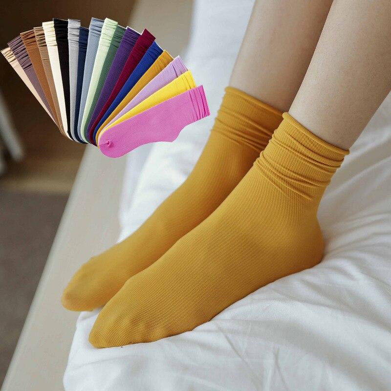 Japanese Korea Loose Socks Women Harajuku Vintage Solid Colors Girls Daily Socks Knitting Velvet Summer Spring Autumn Short Sock