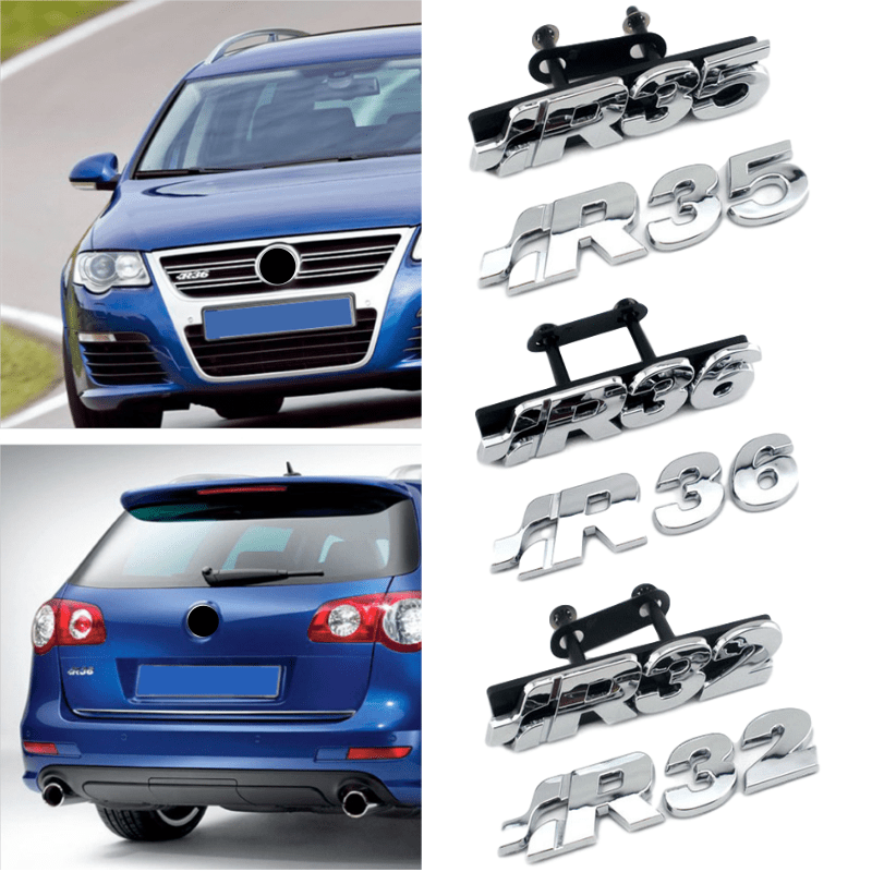 Plastic Chrome R32 R35 R36 Logo Car Rear Boot Tailgate Emblem Car Front Grille Sticker For Volkswagen Teramont Bora Jetta Passat