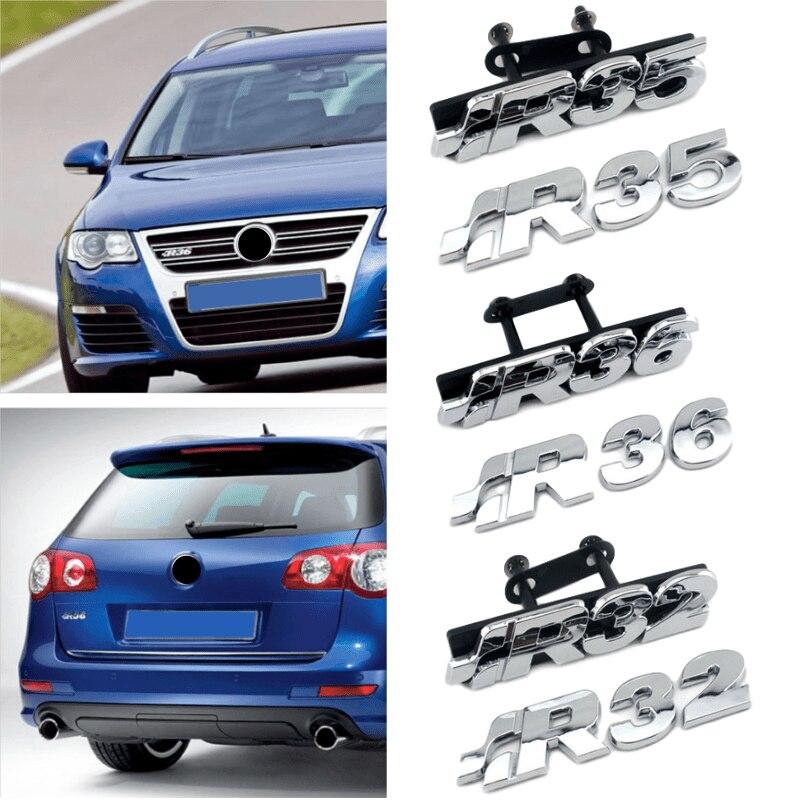 Plastic Chrome R32 R35 R36 Logo Car Rear Boot Tailgate Emblem Car Front Grille Sticker For Volkswagen Teramont Bora Jetta Passat
