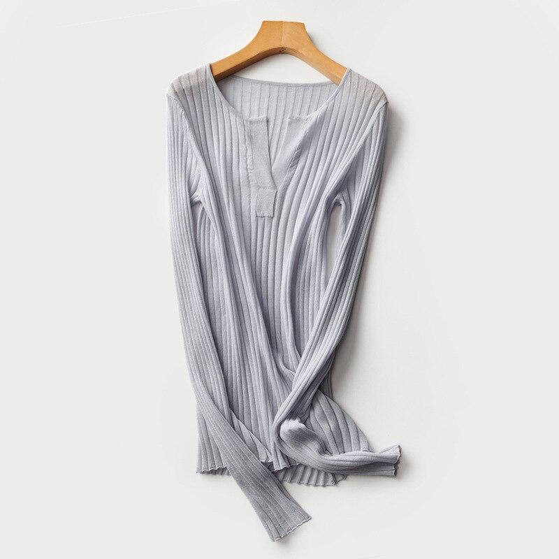 Notch Front Knitted Lyocell Tops Women Linen Blends Summer Sweater Rib Knit Tops