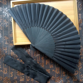 1PC Chinese Style Black Vintage Hand Fan Folding Fans Dance Wedding Party Favor New Arrivals image