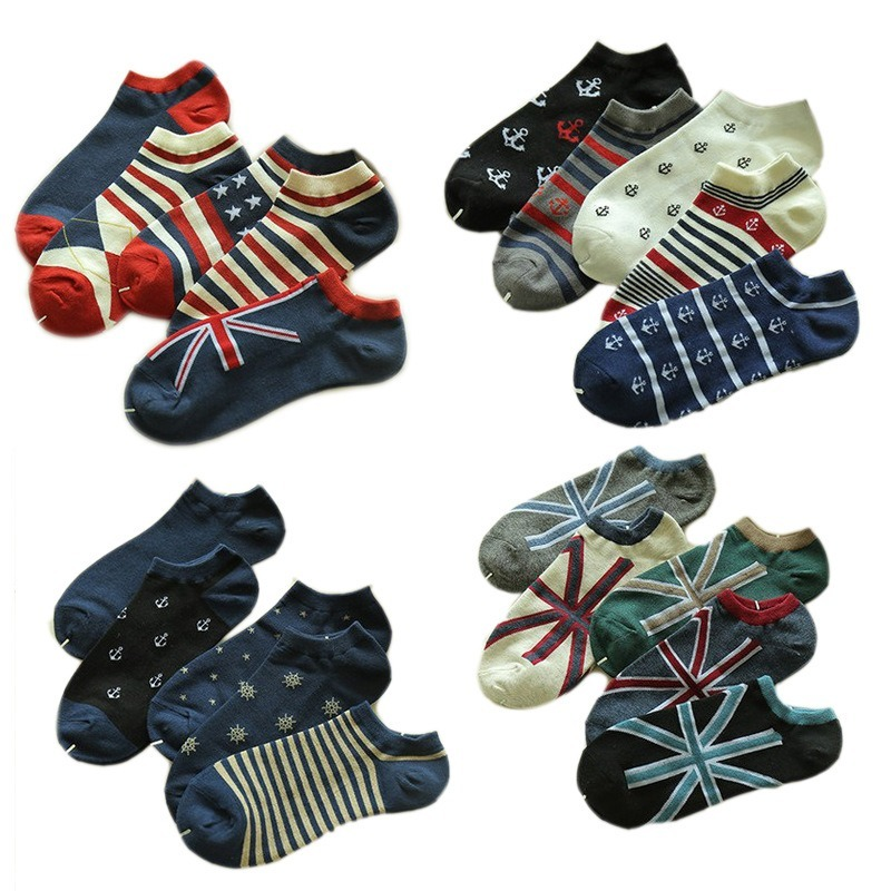 5 Pairs Fashion  Embroider Summer Autumn Mens Happy Socks Cotton Low-waisted British Wind Boat Socks Gifts For Men Meias 501