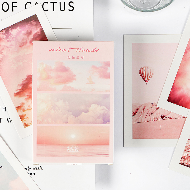 30 Pcs/Set Pink Clouds Galaxy Postcard Creative Photography Greeting Cards DIY Journal Decoration New Year Gift|Card Stock| |  - title=