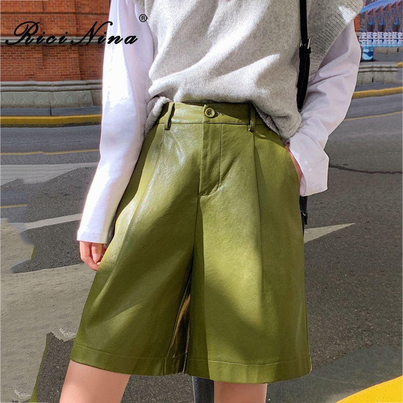 RICININA Women Shorts Large Size Solid Pockets Loose Shorts Women Plus Size Spring Summer Casual High Waist Shorts Wide Leg