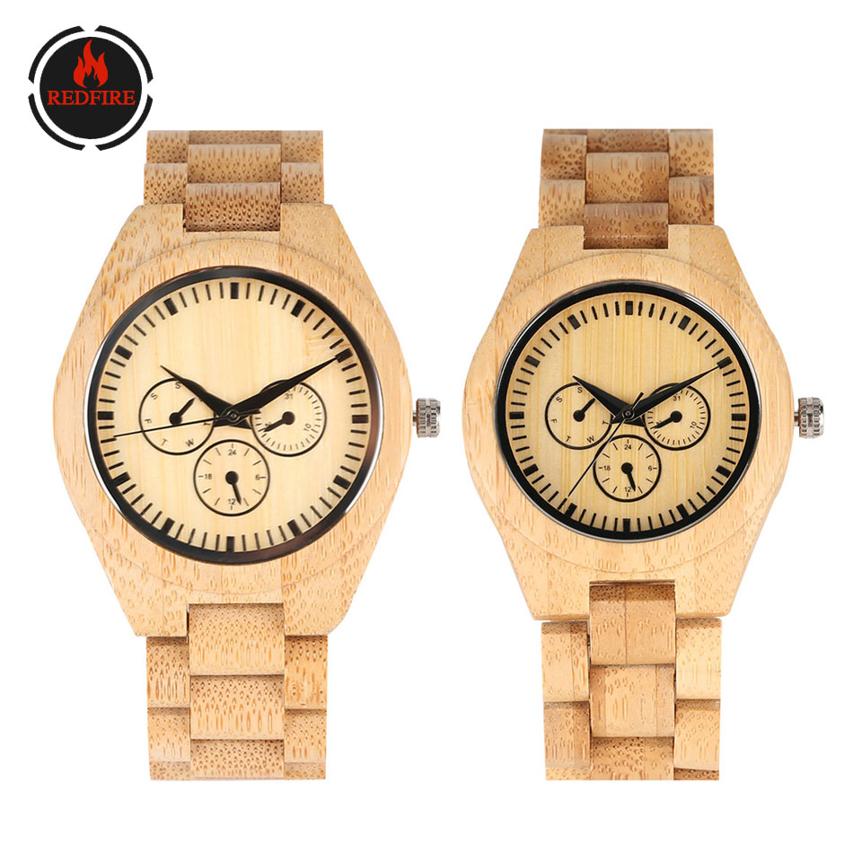 REDFIRE Full Wooden Watch For Couple Natural Bamboo Wood Bangle Quartz Wristwatch Fashion Lovers' Wristwatch Folding Clasp Clock
