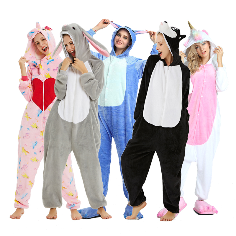 New Winter Women Men Unisex Adult Cute Cartoon Onesie Animal Pajamas Stitch Unicornio Unicorn Kigurumi Flannel Nightie Sleepwear