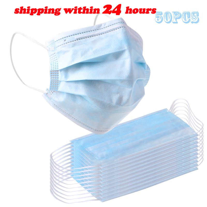 10/25/50pcs Non Woven Disposable Face Mask 3 Layer Earloop Anti-Dust Proof RespiratorMouth Safety Breathable Protection Masks