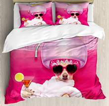 Funny Duvet Cover Set King Size Chihuahua Dog Relaxing and Lying in Wellness Spa Fashion Puppy Comic Print Decorative 3 Piece(China)