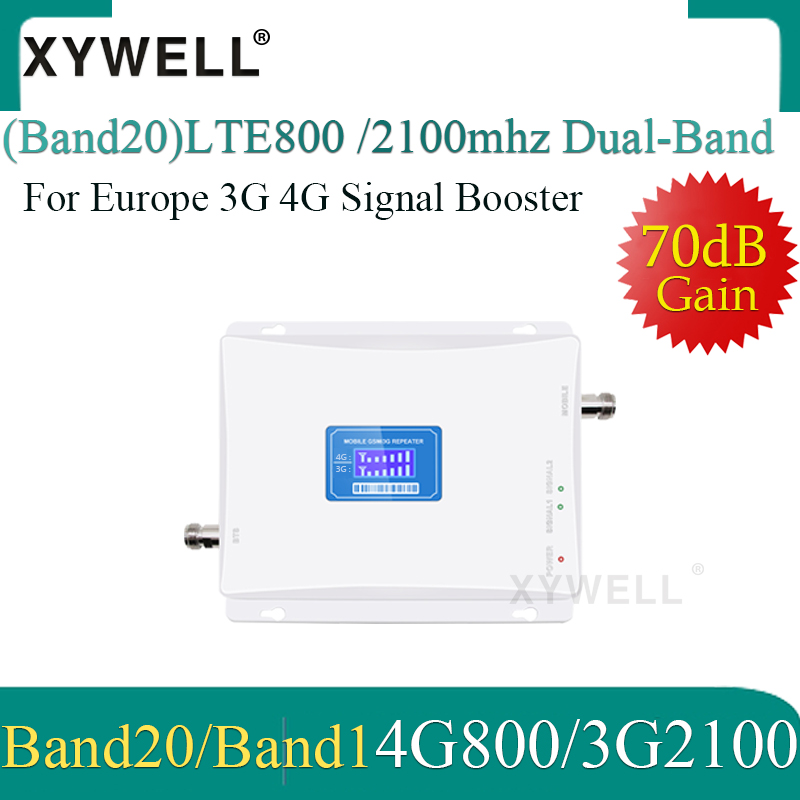 4G LTE Band20 800/2100 3g Dual Band Cellular Signal Booster Cellular Amplifier LTE 4G Amplifier 4G 800 2100 GSM Signal Repeater