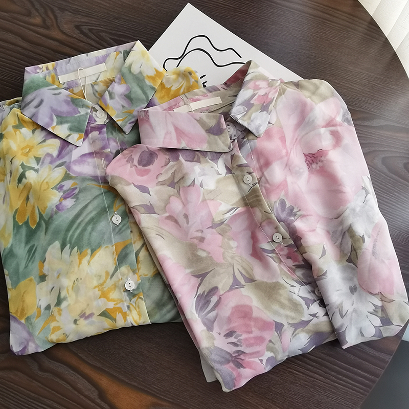 2020 Spring Summer Vintage Floral Oil Painting Blouse Women Loose Casual Streetwear Long Sleeve Chiffon Shirt Female