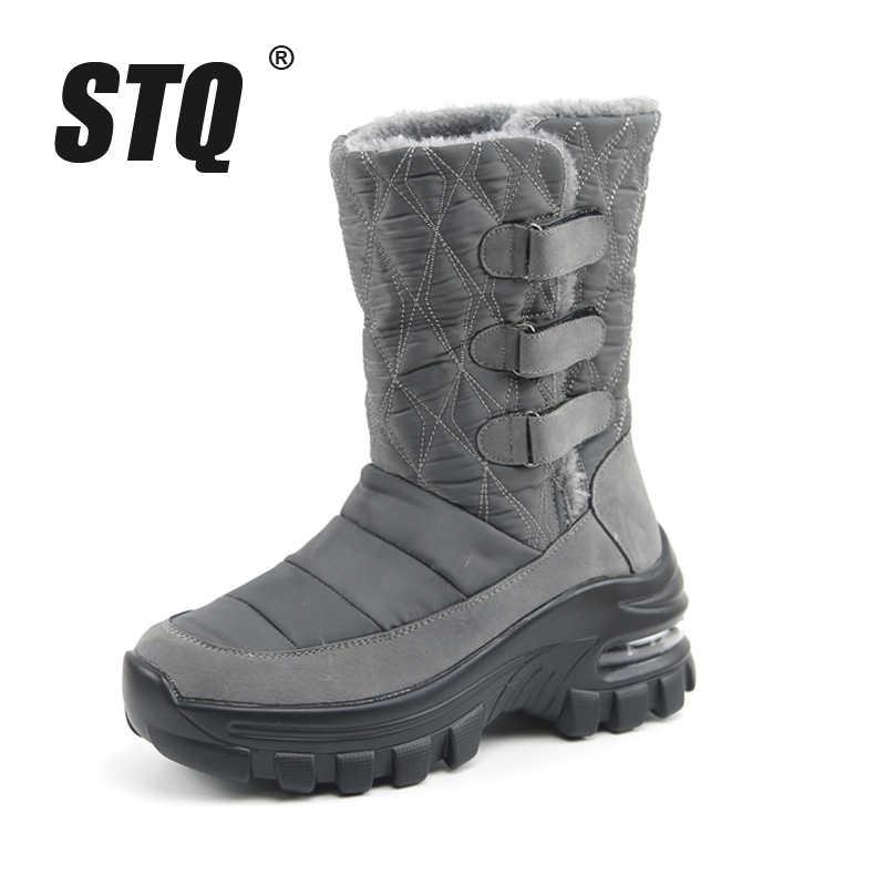 STQ 2020 kadın kış takozlar kar botları ayakkabı bayanlar peluş Med buzağı çizmeler kadınlar sıcak kaymaz su geçirmez kar botları ZJW2056