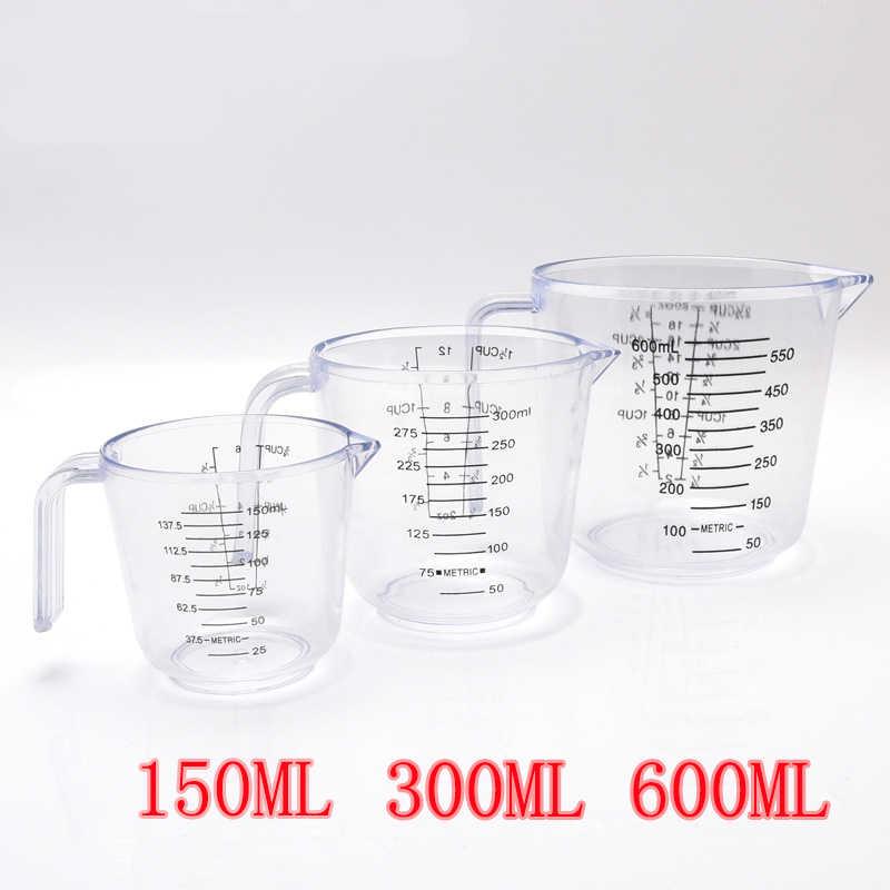 150/300/600ml alta qualidade copo de medição plástico escala clara mostrar caneca transparente derramar bico 3 tamanhos dispositivo medição