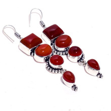 Carnelian Silver Overlay on Copper Earrings, 75 mm , E4341(China)