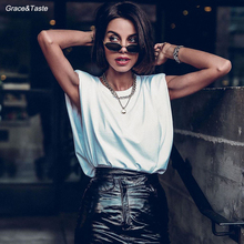 Fashionable elegant shoulder pad sleeveless loose temperament T-shirt vest summer style temperament slim lady fan base jacket