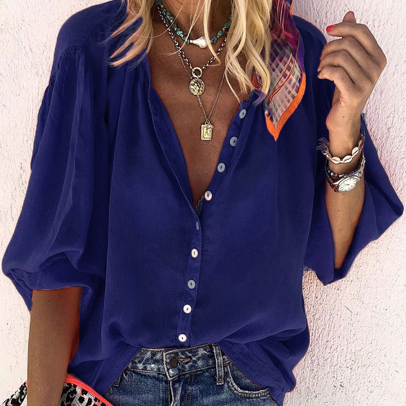 2020 New Fashion Women OL Office Leisure Blouses Shirts Female Basic Top Solid Lantern Sleeve Casual Shirt