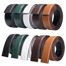 150cm Black Leather Belt for Men Crocodile Without Buckles Male Waist Strap Holeless Deasigner Automatic Buckle