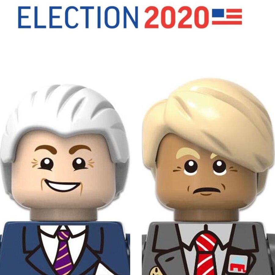 Минифигурка Минифигурки президента Дональда Трампа Джо бидена человека, строительные блоки, кирпичи, Прямая поставка, выборов 2020 BLM