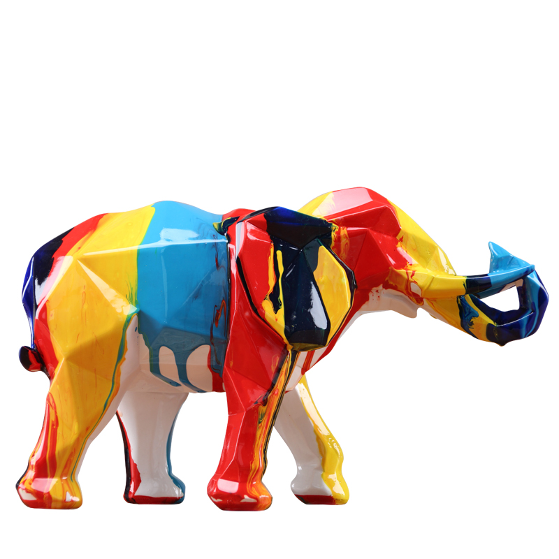 New Arrival Natural Resin Elephant Mascot Colorful Colors Geometric Figures Home Decor Christmas Gifts Office Decoration X4095
