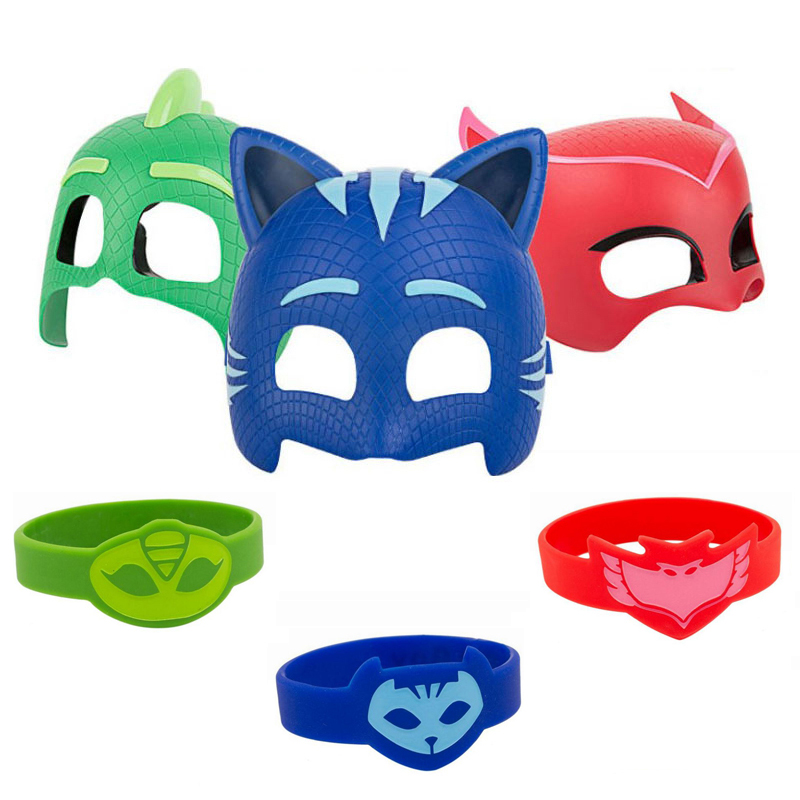 Pj Masks Juguete Sports Wristband PJ Mask Anime Cosplay Costumes Mask Toy PVC Catboy Owlette Gekko Toys For Children Gifts