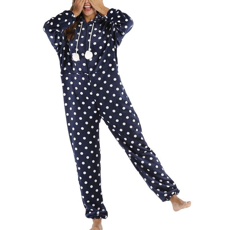 Womens Hooded Flannel Sleepwear Jumpsuit Printing Long Sleeve Romper Winter Spring Warm Nightwear Playsuit