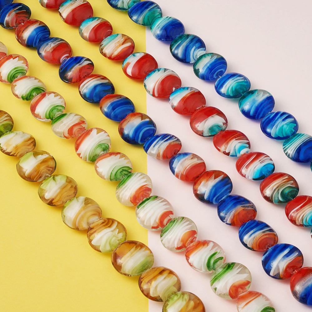 handmade transparent multicolored lampwork glass beads 6 pcs set of 6 handmade glass lampwork beads 13mm sra Round glass lampwork beads