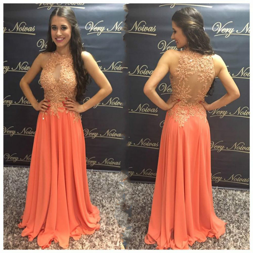 Elegtant Long   Evening     Dress   Keyhole Neck Lace Arabic   Evening   Formal Party   Dress   Illusion Back Peach Prom   Dresses   2019 For Woman